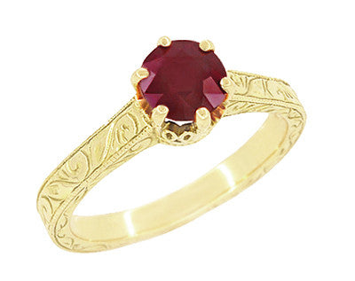 Art Deco Crown Filigree Scrolls Ruby Engagement Ring in 18 Karat Yellow Gold