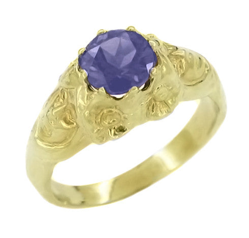 Art Nouveau Iolite Lady Ring in 14 Karat Yellow Gold | Unique Iolite Ring