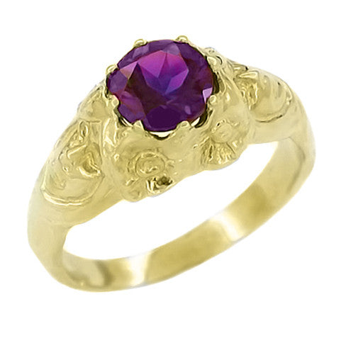Art Nouveau Lady Amethyst Ring in 14 Karat Yellow Gold