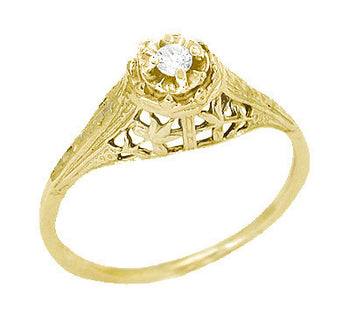 Art Deco Filigree Petite Diamond Promise Ring in 14 Karat Yellow Gold