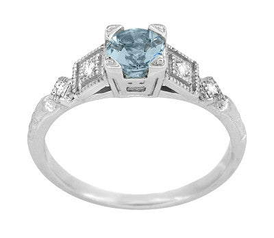 Art Deco 3/4 Carat Aquamarine and Diamond Vintage Style Engagement Ring in Platinum - Item: R208P - Image: 2