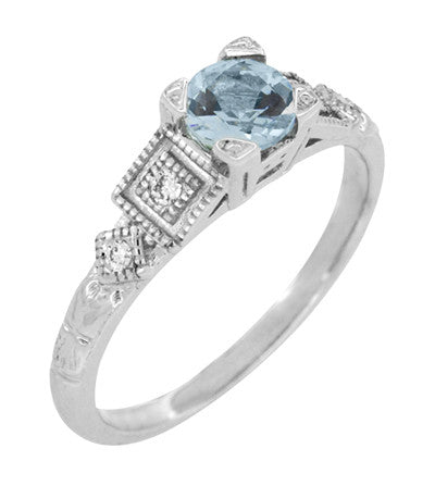 Art Deco 3/4 Carat Aquamarine and Diamond Vintage Style Engagement Ring in Platinum - Item: R208P - Image: 3