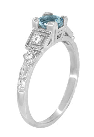 Art Deco 3/4 Carat Aquamarine and Diamond Vintage Style Engagement Ring in Platinum - Item: R208P - Image: 4