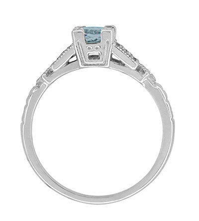 Art Deco 3/4 Carat Aquamarine and Diamond Vintage Style Engagement Ring in Platinum - Item: R208P - Image: 5