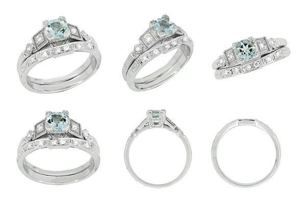 Art Deco 3/4 Carat Aquamarine and Diamond Vintage Style Engagement Ring in Platinum - Item: R208P - Image: 6