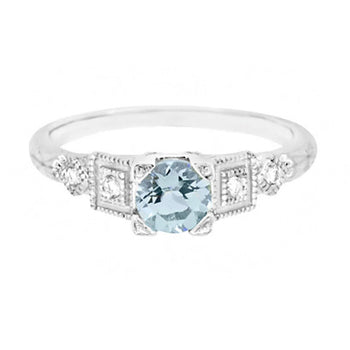 Art Deco 3/4 Carat Aquamarine and Diamond Vintage Style Engagement Ring in Platinum