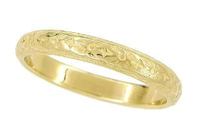 Art Deco Yellow Gold Hand Engraved Floral Vintage Wedding Band - 18K or 14K