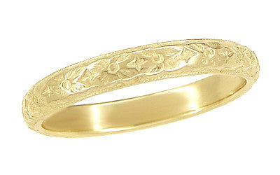 Art Deco Yellow Gold Hand Carved Flowers Vintage Wedding Band - 18K or 14K