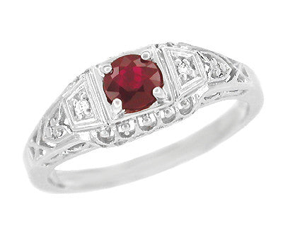 Art Deco Ruby and Diamond Filigree Engagement Ring in Platinum