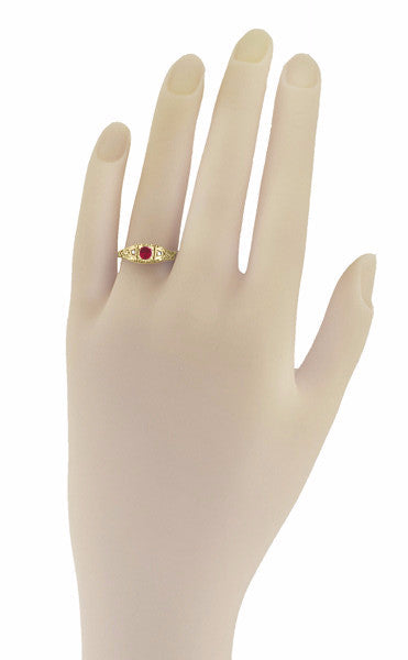 Art Deco Ruby and Diamond Filigree Engagement Ring in 14 Karat Yellow Gold - Item: R227Y - Image: 2