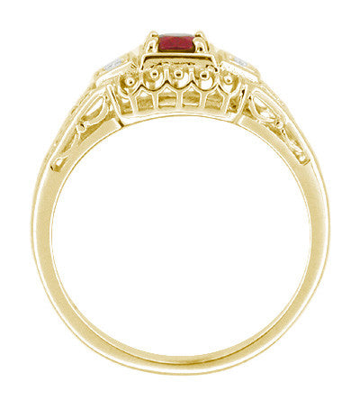Art Deco Ruby and Diamond Filigree Engagement Ring in 14 Karat Yellow Gold - Item: R227Y - Image: 1