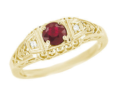 Art Deco Ruby and Diamond Filigree Engagement Ring in 14 Karat Yellow Gold
