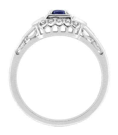 Art Deco Sapphire and Diamond Filigree Art Deco Engagement Ring in Platinum - Item: R228P - Image: 1