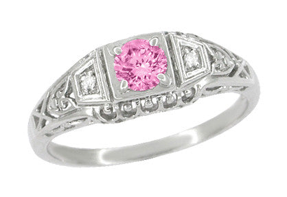 Pink Sapphire and Diamonds Filigree Art Deco Engagement Ring in Platinum