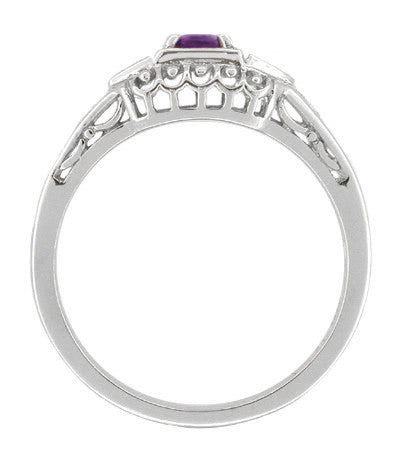 Art Deco Amethyst and Diamond Filigree Promise Ring in 14 Karat White Gold - Item: R228WAM - Image: 1