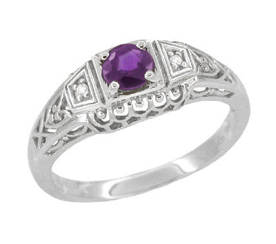 Art Deco Amethyst and Diamond Filigree Promise Ring in 14 Karat White Gold