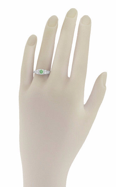 Art Deco Mint Green Tourmaline and Diamond Filigree Vintage Style Engagement Ring in 14 Karat White Gold - Item: R228WGT - Image: 2