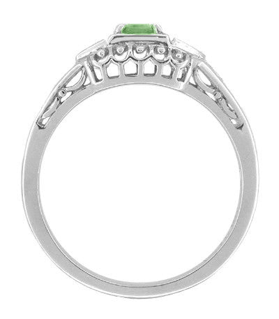 Art Deco Mint Green Tourmaline and Diamond Filigree Vintage Style Engagement Ring in 14 Karat White Gold - Item: R228WGT - Image: 1