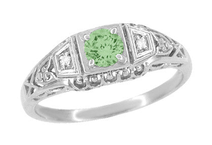 Art Deco Mint Green Tourmaline and Diamond Filigree Vintage Style Engagement Ring in 14 Karat White Gold