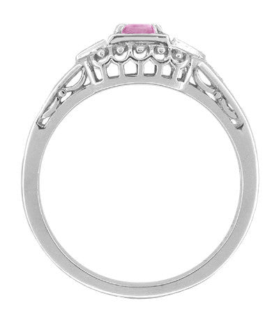 Pink Sapphire and Diamond Art Deco Filigree Engagement Ring in 14 Karat White Gold - Item: R228WPS - Image: 1