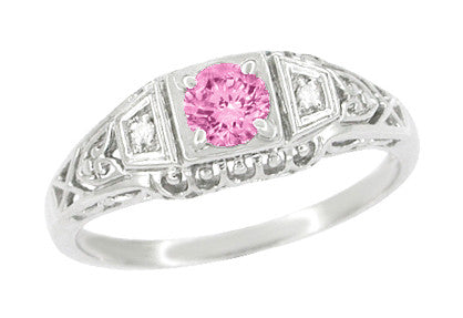 Pink Sapphire and Diamond Art Deco Filigree Engagement Ring in 14 Karat White Gold