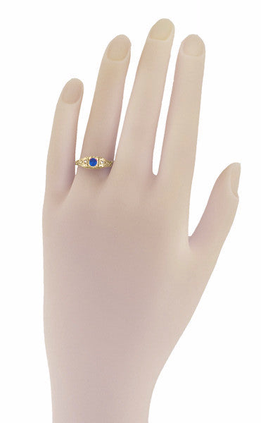 Art Deco Blue Sapphire and Diamond Filigree Engagement Ring in 14 Karat Yellow Gold - Item: R228Y - Image: 2