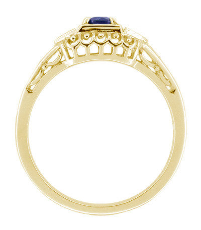 Art Deco Blue Sapphire and Diamond Filigree Engagement Ring in 14 Karat Yellow Gold - Item: R228Y - Image: 1