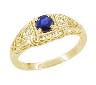 Art Deco Blue Sapphire and Diamond Filigree Engagement Ring in 14 Karat Yellow Gold
