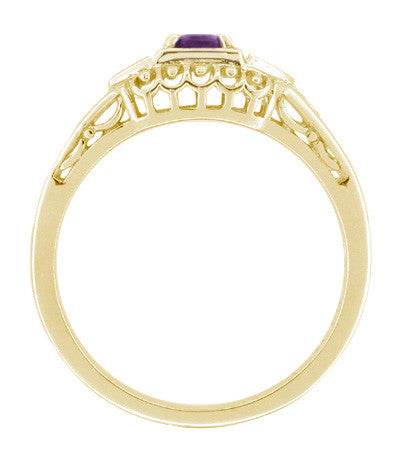 Art Deco Amethyst and Diamond Filigree Promise Ring in 14K Yellow Gold - Item: R228YAM - Image: 1