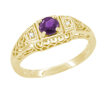Art Deco Amethyst and Diamond Filigree Promise Ring in 14K Yellow Gold