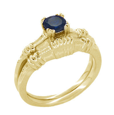 Art Deco Hearts and Clovers Blue Sapphire Engagement Ring in 14 Karat Yellow Gold - Item: R230Y - Image: 2