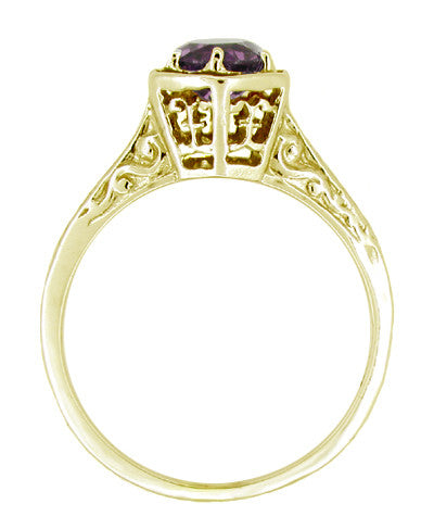 3/4 Carat Amethyst Art Deco Engraved Hexagon Filigree Ring in 14 Karat Yellow Gold - Item: R233Y - Image: 1