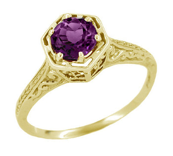 3/4 Carat Amethyst Art Deco Engraved Hexagon Filigree Ring in 14 Karat Yellow Gold