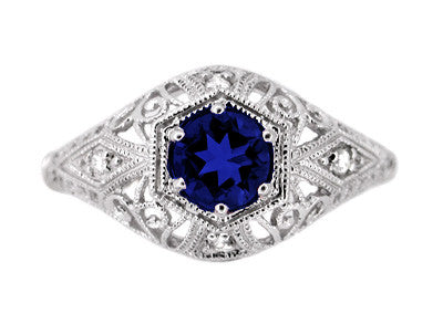 Edwardian Sapphire and Diamonds Scroll Dome Filigree Engagement Ring in Platinum - Item: R234P - Image: 1