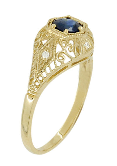 Edwardian Blue Sapphire and Diamonds Scroll Dome Filigree Engagement Ring in 14 Karat Yellow Gold - Item: R234Y - Image: 2