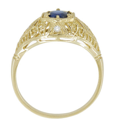 Edwardian Blue Sapphire and Diamonds Scroll Dome Filigree Engagement Ring in 14 Karat Yellow Gold - Item: R234Y - Image: 3