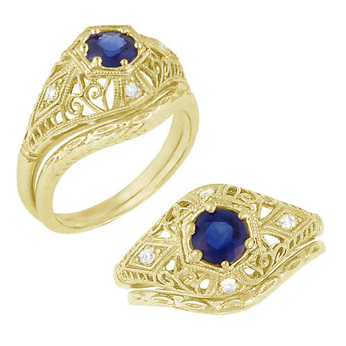 Edwardian Blue Sapphire and Diamonds Scroll Dome Filigree Engagement Ring in 14 Karat Yellow Gold - Item: R234Y - Image: 4