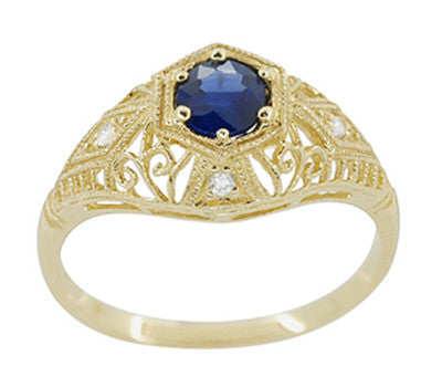 Edwardian Blue Sapphire and Diamonds Scroll Dome Filigree Engagement Ring in 14 Karat Yellow Gold - Item: R234Y - Image: 1