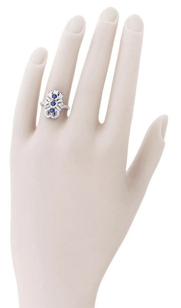 Art Deco Filigree Blue Sapphires Cocktail Statement Ring in 14 Karat White Gold - Item: R235 - Image: 2