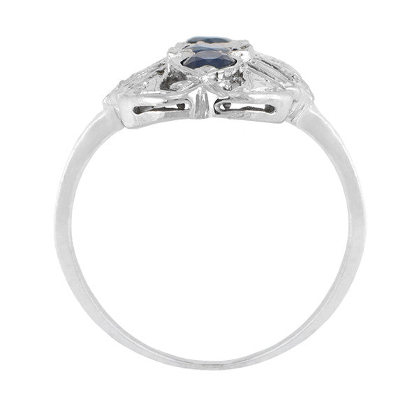 Art Deco Filigree Blue Sapphires Cocktail Statement Ring in 14 Karat White Gold - Item: R235 - Image: 1