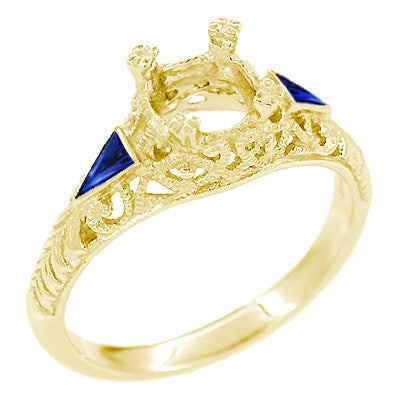 Art Deco 3/4 - 1 Carat Filigree Engagement Ring Setting in 14 Karat Yellow Gold with Blue Sapphire Side Stones