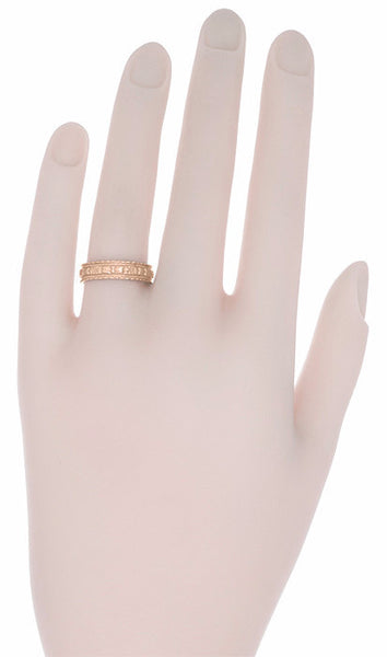 Art Deco Wide Floral Wedding Ring in 14 Karat Rose Gold - Item: R238R - Image: 1