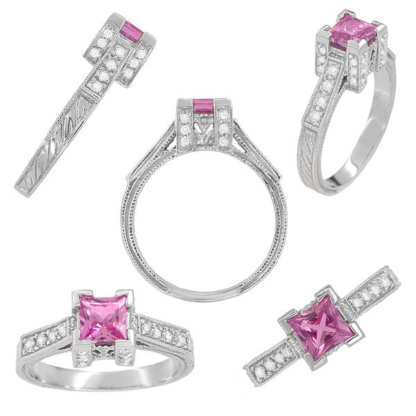Art Deco 1/2 Carat Princess Cut Pink Sapphire and Diamond Engagement Ring in Platinum - Item: R239PS - Image: 1