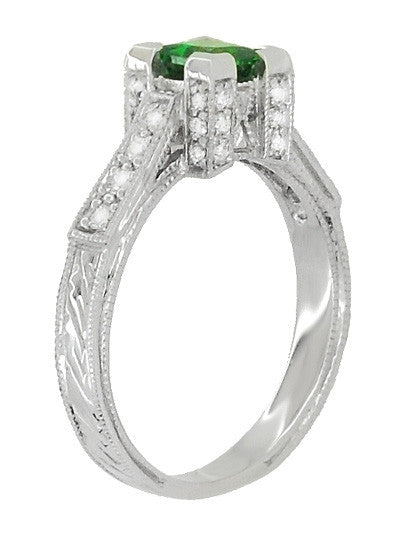 Art Deco 1/2 Carat Princess Cut Tsavorite Garnet and Diamond Engagement Ring in Platinum - Item: R239TS - Image: 2