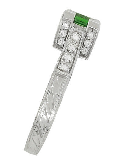 Art Deco 1/2 Carat Princess Cut Tsavorite Garnet and Diamond Engagement Ring in Platinum - Item: R239TS - Image: 3