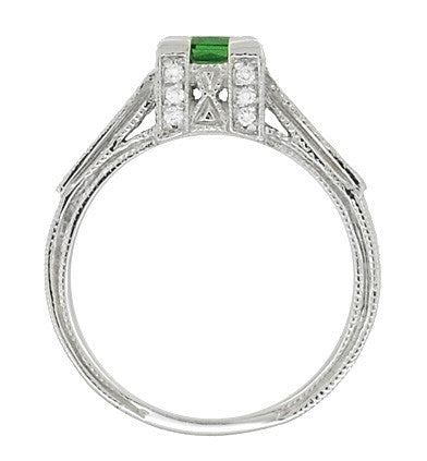 Art Deco 1/2 Carat Princess Cut Tsavorite Garnet and Diamond Engagement Ring in Platinum - Item: R239TS - Image: 4