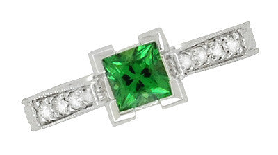 Art Deco 1/2 Carat Princess Cut Tsavorite Garnet and Diamond Engagement Ring in Platinum - Item: R239TS - Image: 5