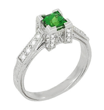 Art Deco 1/2 Carat Princess Cut Tsavorite Garnet and Diamond Engagement Ring in Platinum - Item: R239TS - Image: 1
