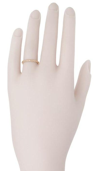 Art Deco 2mm Slender Engraved Wheat Wedding Band in 14 Karat Rose ( Pink ) Gold - 2mm - Item: R241R - Image: 1