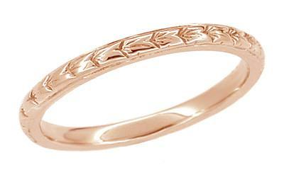 Art Deco Thin Engraved Wheat Wedding Band in 14 Karat Rose ( Pink ) Gold - 2mm